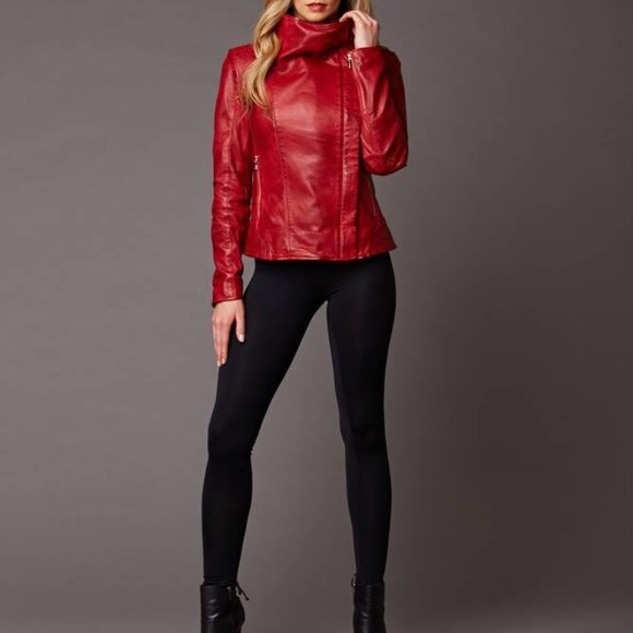 Red lambskin leather jacket !